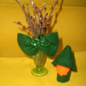 Leprechaun craft made from wine corks.