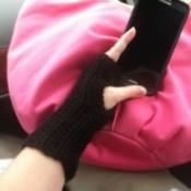 A pair of super easy fingerless gloves.