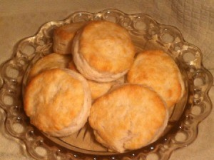 amber glass plate with large buttermilk biscuits