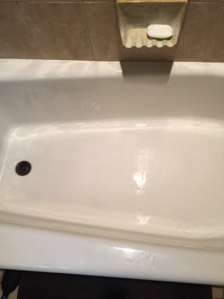 A clean tub after stains have been removed.