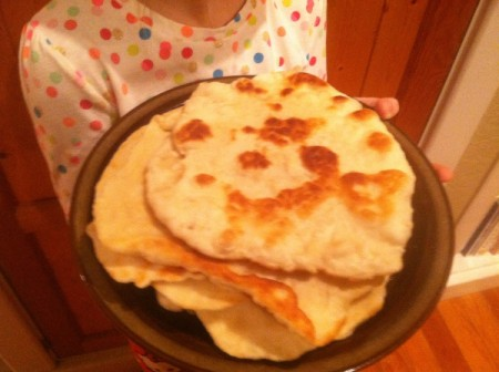A plate of homemade flour tortillas