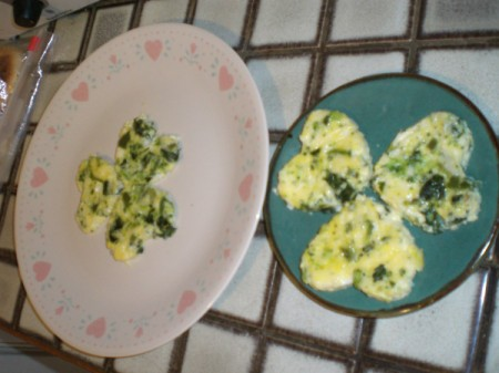 A plate of clover shaped eggs.