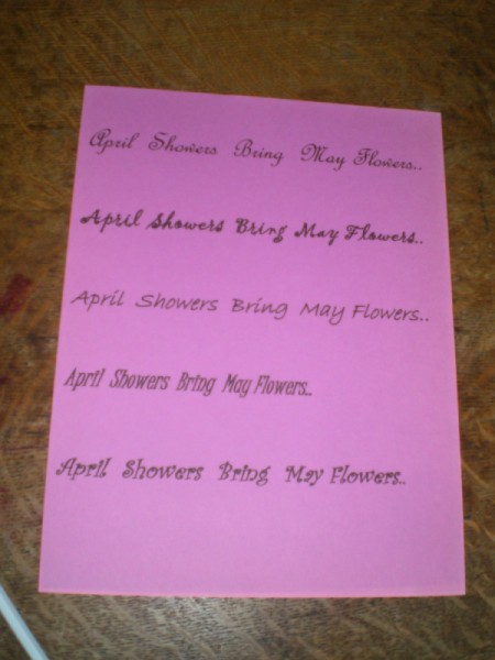"""April Showers Bring May Flowers"" page"