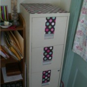 paper decorated file cabinet