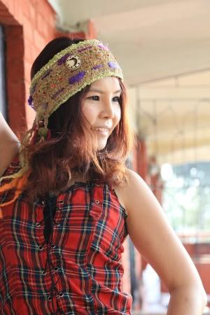 young woman wearing a headband