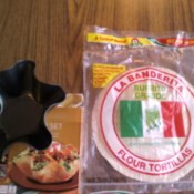 Supplies for making baked taco salad shells.