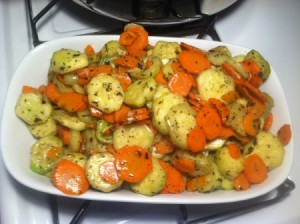 A dish of sautéed vegetables.