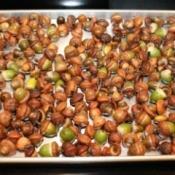 pan of acorns on oven rack