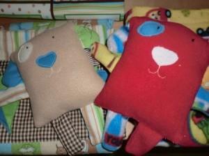 two fleece puppy pillows