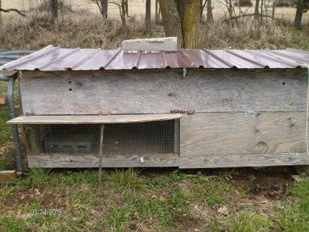 A chicken coop made from recycled materials.