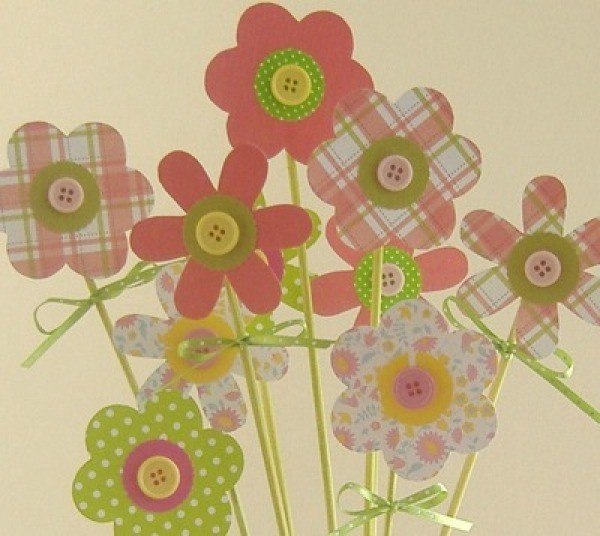 Making A Scrapbook Paper Flower Bouquet Thriftyfun