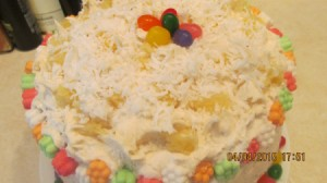 A close up of the coconut pineapple cake