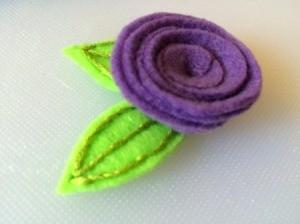Purple Spiral Felt Flower Craft