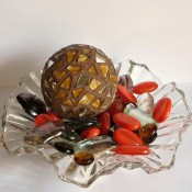 mosaic ball on glass dish with decorative beads