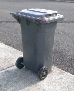 Garbage container ready to be picked up