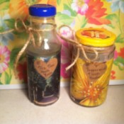 finished products in decorated bottles