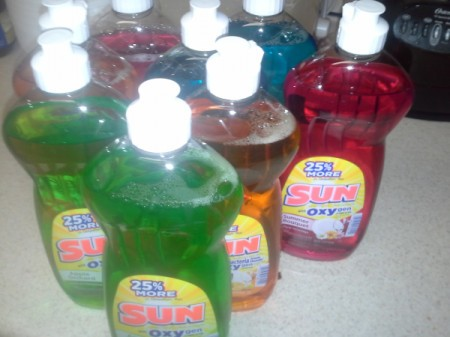 Bottles of dish soap on sale.