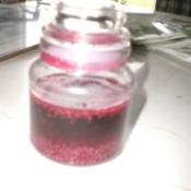 Chia seeds soaking in juice