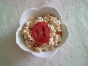 A dish of mock tuna salad with garbanzo beans