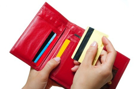 Wallet with organized cards.