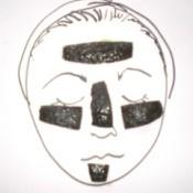 Pieces of avocado skin for a facial