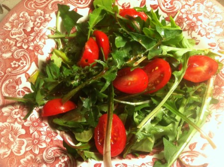 Dandelion Greens and Pomegranate Vinaigrette