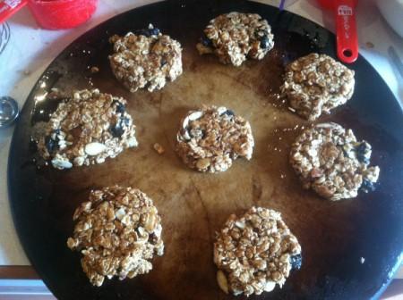 Healthy Breakfast Cookies - unbaked cookies on a baking sheet