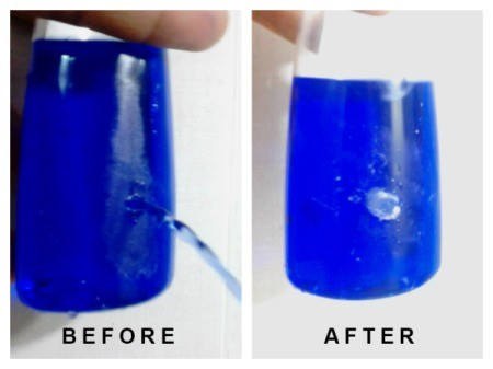 A bottle before and after repair.