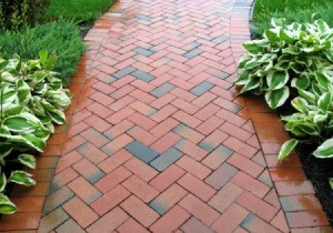 brick walkway with host