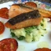 Salmon Filet with Crab and Potato Salad
