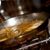 A pan of Crepes Suzette