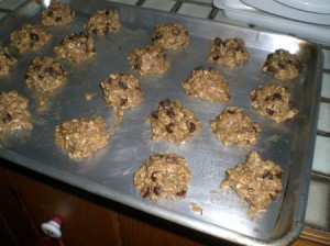 A cookie sheet of chickpea chip cookies.