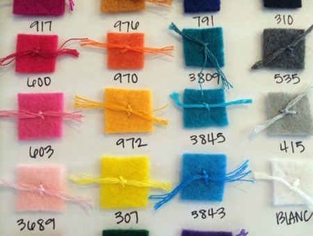Embroidery Floss and Felt Color Code Chart