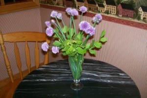 A bouquet of chives and lovage.