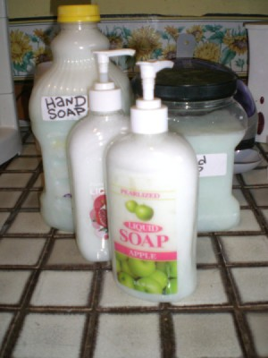 pump bottles filled with liquid soap