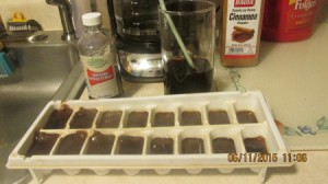 coffee cubes in ice tray