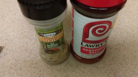 Bottles of seasonings.