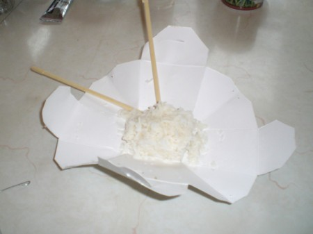 open container with rice and chop sticks