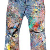 lots of paint spilled on jeans