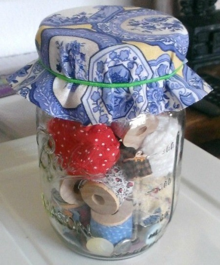 Old Fashioned Sewing Jar with a New Twist