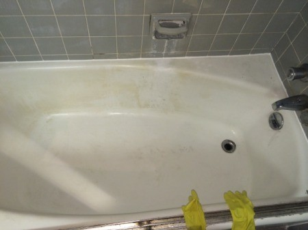 Tub in process of being cleaned.