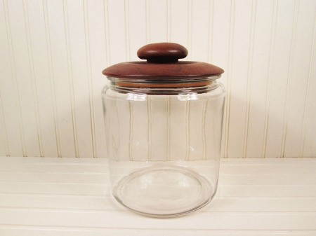 glass cookie jar with wood lid