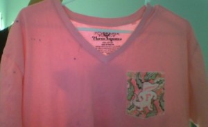 pinks shirt with fabric dye stains