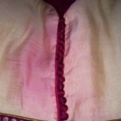Closeup of dye bleed damage on a dress.