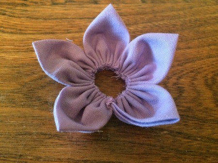 Folded Fabric Flower - all pedals attached