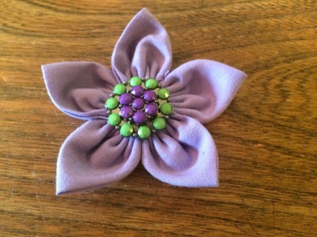 Folded Fabric Flower - front of flower
