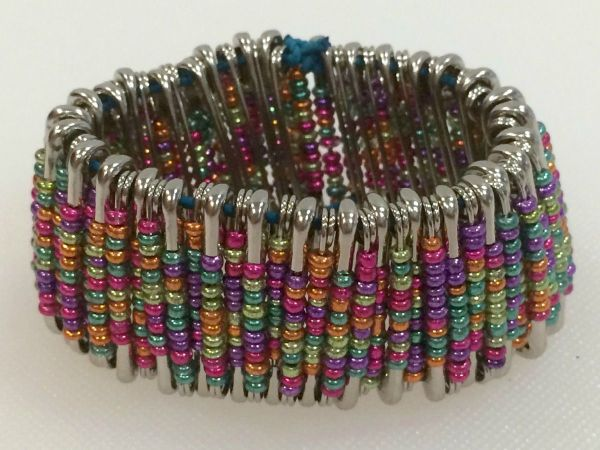 Colorful Bracelet Made With Safety Pins And Beads