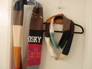 two finished scarves hanging