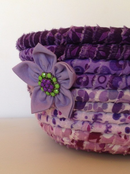 finished bowl with fabric flower