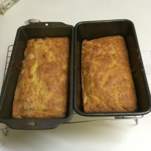 loave pans of baked banana bread